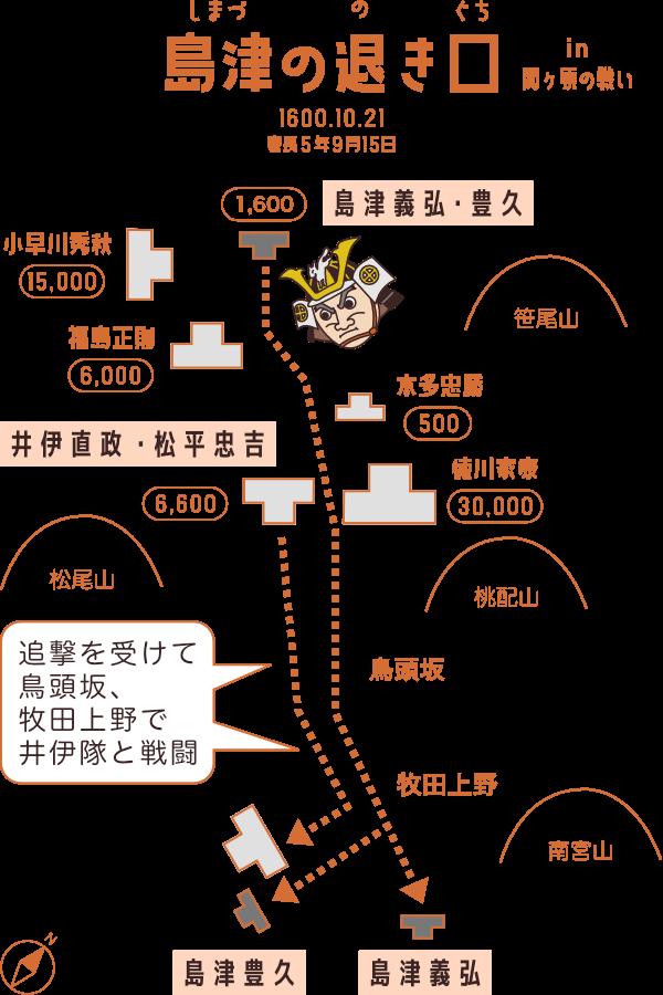 【島津の退き口】関ヶ原の戦いで島津義弘が敵中突破したルート